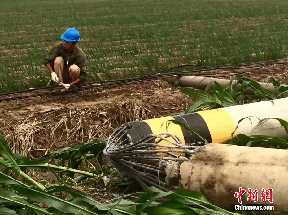 多方力量援助江苏东台风灾村庄抢险救灾(高清