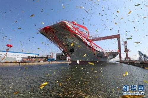 2017年4月26日,我國第二艘航空母艦下水儀式在中國船舶重工集團公司大連造船廠舉行。圖為航空母艦下水儀式現場。