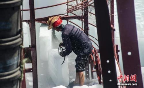 資料圖:工人在船上裝載冰塊。 翟李強 攝