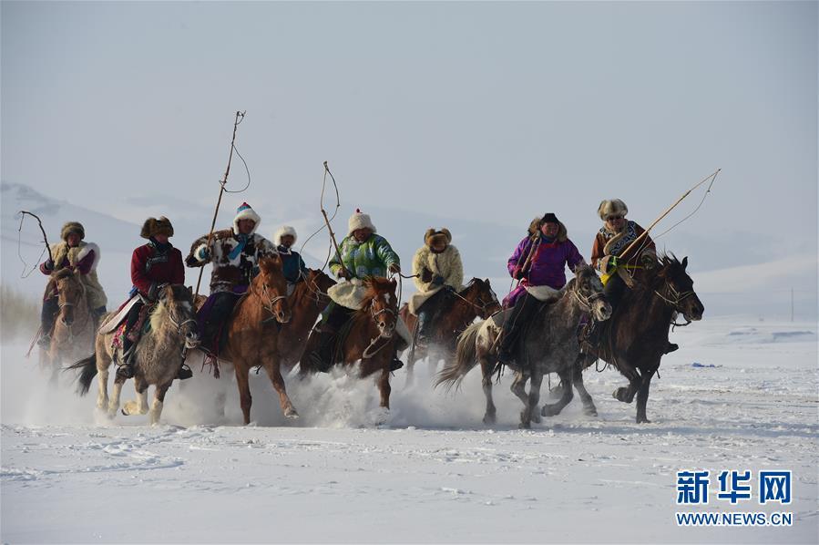 冬日草原 雪地奔马